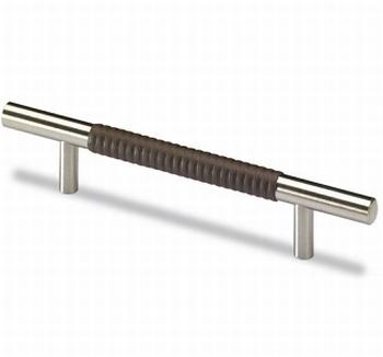 Greep Byzantia -edelstaal finish/ bruin leer design- L 220mm<br />Per stuk