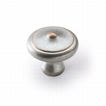 Knop Fossa - zilverkleurig antiek - Diameter 40 mm<br />Per stuk
