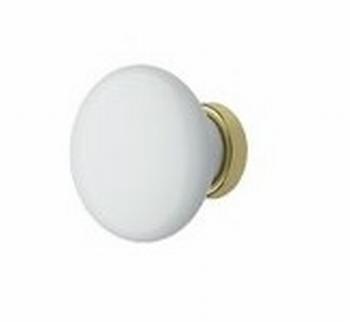 Knop antiek porselein/wit - goudkleurig 30mm<br />Per stuk