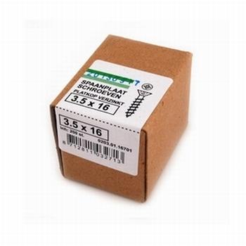 Spaanplaat/houtschroeven 3,5x16mm - doos per 200 stuks<br />Per doos