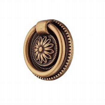 Oud messing ringknop -  bruin gepatineerd - diameter 37mm<br />Per stuk