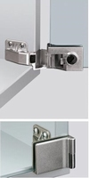 Glasdeurscharnier voor opliggende deuren<br />Per paar