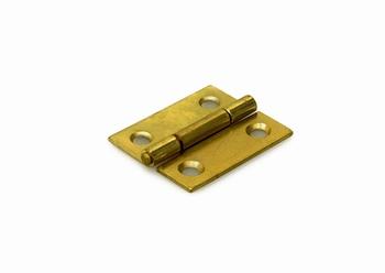 Scharnier met vaste pen staal vermessingd - 25x22mm<br />per stuk