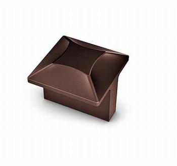 Knop Kasti - Bruin metallic - breedte 32 mm -  hoogte 28 mm<br />Per stuk