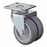 Dubbelwiel 80kg - kunststof loopvlak rubber<br />per stuk