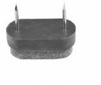 Glijnagel met vilt - 38x18x10mm grijs<br />per stuk