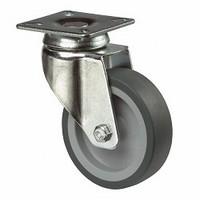 Zwenkwiel 65kg - kunststof loopvlak rubber<br />per stuk
