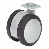 Zwenkwiel 80kg - zilverkleur, loopvlak zwart rubber<br />per stuk