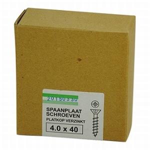 Spaanplaat/houtschroef 4,0x40mm  - doos 200 stuks<br />per doos