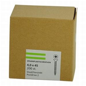 Spaanplaat/houtschroef 4,0x45mm  - doos 200 stuks<br />per doos
