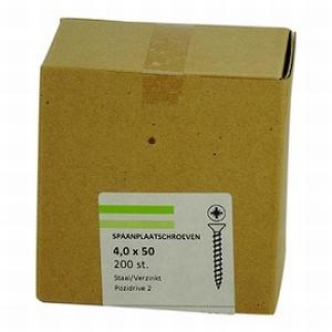 Spaanplaat/houtschroef 4,0x50mm  - doos 200 stuks<br />per doos