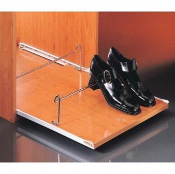 Uittrekbaar schoenenrek 43x10x4cm - rolgeleider<br />Per stuk