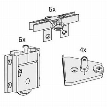 Set beslag voor 3 deuren - tot 50kg per deur<br />Per set