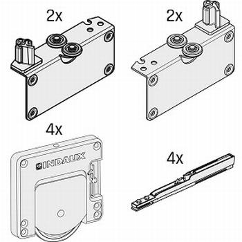 Set beslag voor 2 deuren - softclosing - tot 50kg per deur<br />Per set