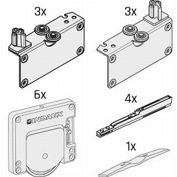 Set beslag voor 3 deuren - softclosing - tot 50kg per deur<br />Per set