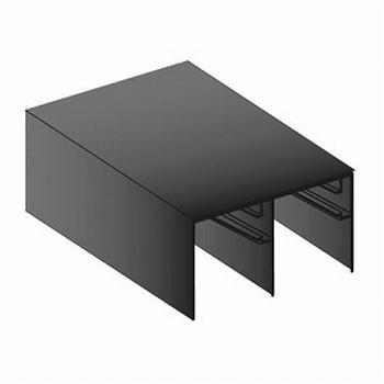 Bovenrail zwart - 420cm<br />Per stuk