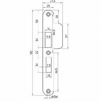 RVS sluitplaat voor slot 4119/27 - DR 2/4