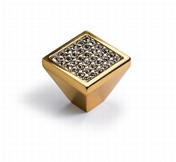 Knop Lodi - Goudkleurig - Breedte 25 mm<br />Per stuk