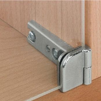 Glasdeurscharnier, voor deurmontage zonder glasboring<br />Per paar