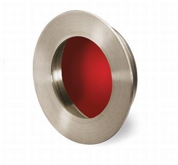 Greep Aboa - Geborsteld edelstaal -  Rood - Diameter 65 mm<br />Per stuk