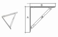 Vouwdrager standaard 300x300mm - wit gelakt<br />per stuk
