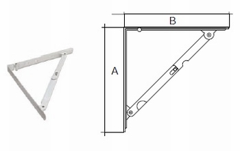 Vouwdrager standaard 400x400mm - wit gelakt<br />per stuk