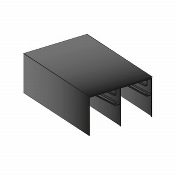 Bovenrail aluminium mat zwart - 420cm - J6