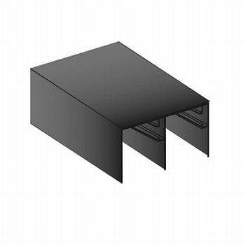 Bovenrail aluminium mat zwart structuur - 510cm - J6