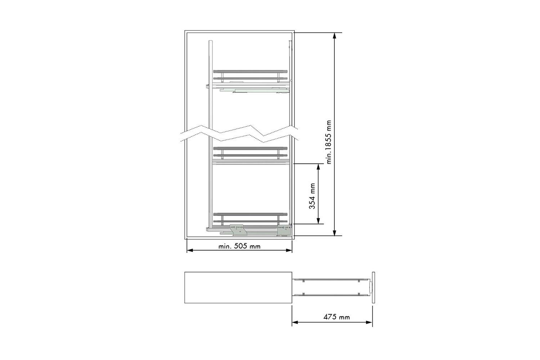 Apothekerskast antraciet - h: 185cm  b: 20cm - 5 plateaus