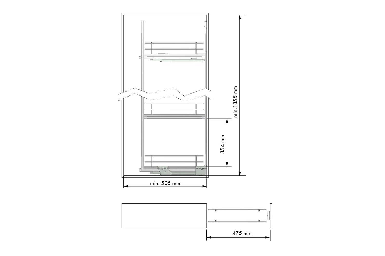 Apothekerskast - h: 185cm b: 20cm - inclusief 5 plateaus