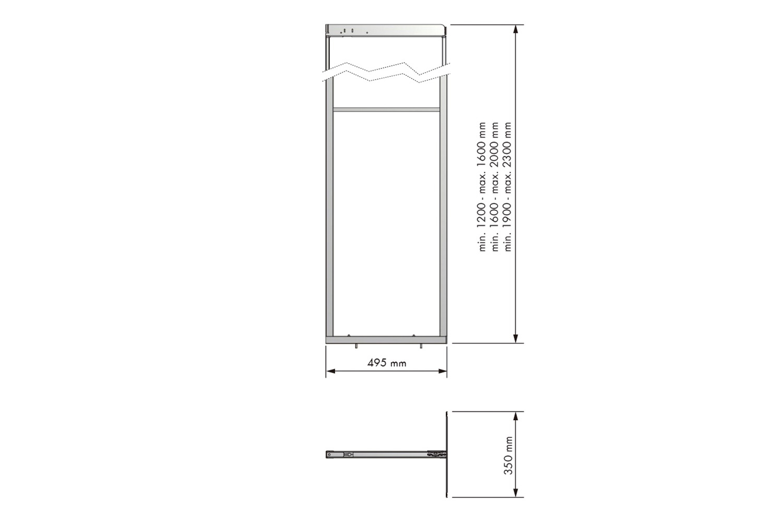 Apothekerskast - h: 160-190cm b: 30-35cm - zonder manden