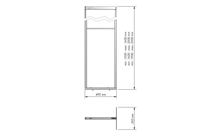 Apothekerskast - h: 160-200cm b: 45/50/60cm - zonder manden