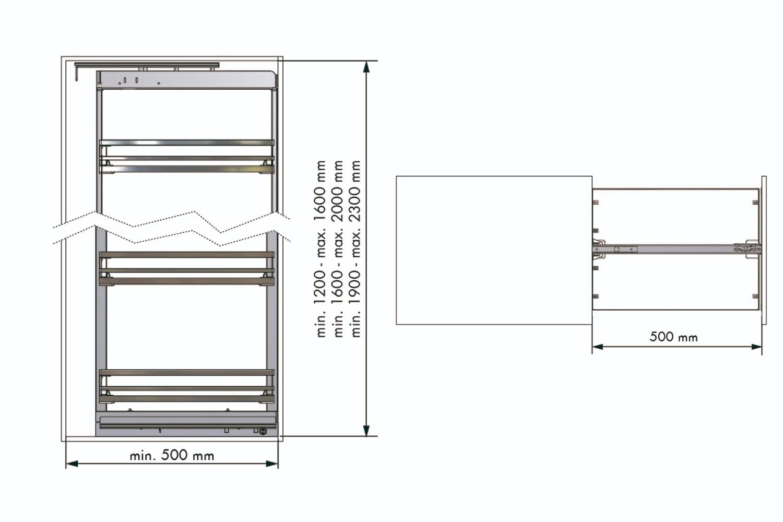 Apothekerskast - h: 120-160cm b: 50cm - 4 plateaus