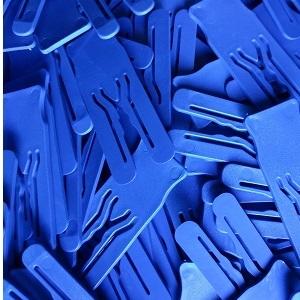 Afstandsplaatje kunststof blauw 2mm dik - 70x25mm