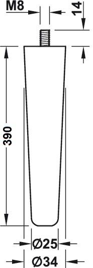 Beuken meubelpoot - konisch Ø34-25mm - lengte 390mm