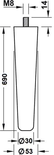 Beuken tafelpoot - konisch Ø53-30mm - lengte 690mm