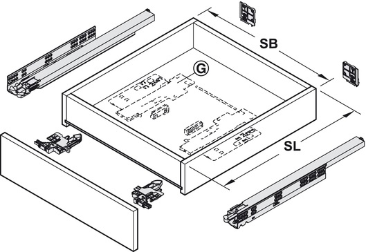 Blum Movento incl. softclosing en push to open 550mm - 60kg