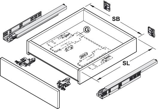 Blum Movento incl. softclosing en push to open 580mm - 60kg