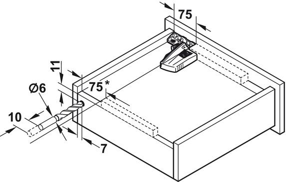 Blum Movento incl. softclosing en push to open 750mm - 60kg