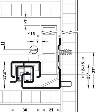 Blum Tandem inclusief push-to-open 250mm - 30kg<br />Per paar