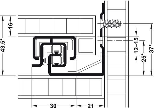Blum Tandem inclusief push-to-open 250mm - 30kg