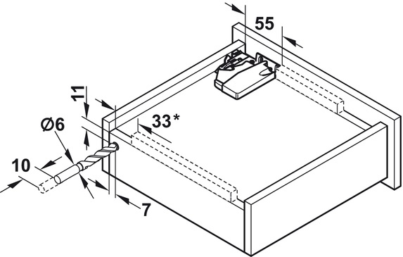 Blum Tandem inclusief push-to-open 450mm - 30kg