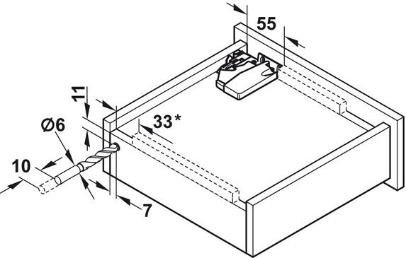 Blum Tandem inclusief push-to-open 550mm - 30kg