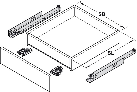 Blum Tandem inclusief softclosing 450mm - 30kg<br />Per paar