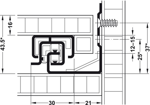 Blum Tandem inclusief softclosing 500mm - 30kg<br />Per paar