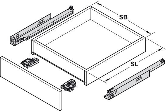 Blum Tandem inclusief softclosing 650mm - 50kg<br />Per paar