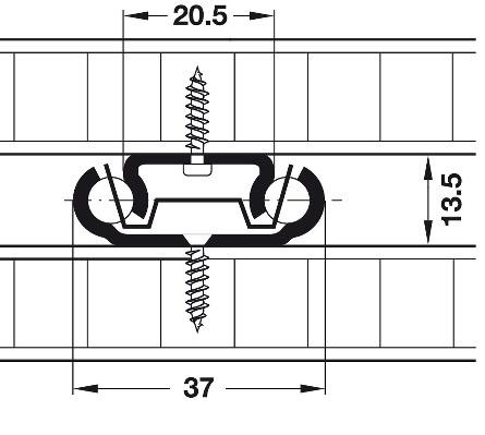 Bodemgeleider belastbaar tot 20kg - lengte 300mm