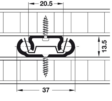 Bodemgeleider belastbaar tot 20kg - lengte 600mm