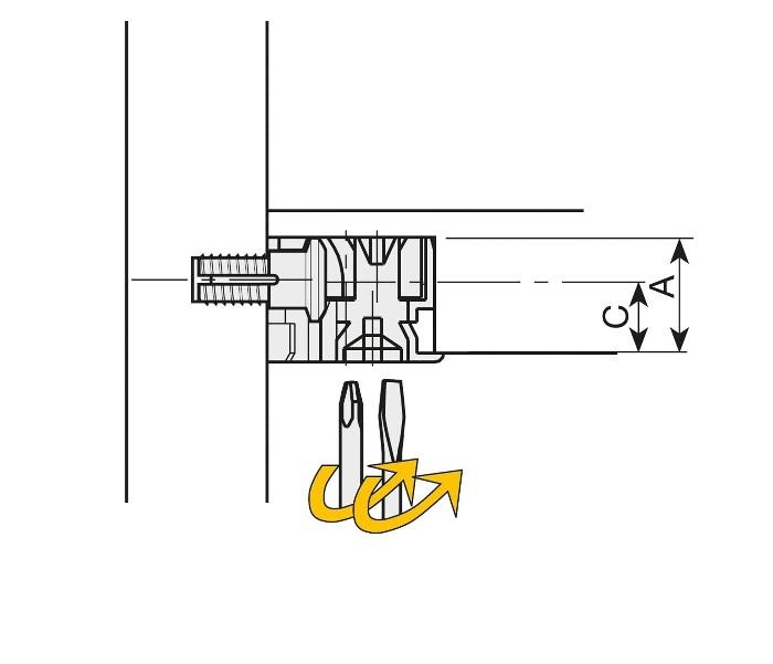 Clock 3 Ø20mm - excentrische verbinder - zamak - Ø20x8mm