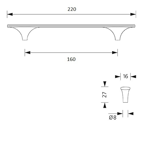 Design-greep Liana - mat zwart - 160/220mm